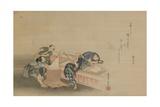 Pounding Rice for Mochi Giclee Print by Katsushika Hokusai