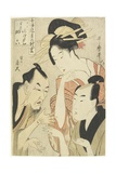 The Courtesan Agemaki, the Chivalrous Guy Sukeroku, Ikyu with Beard, 1798-1800 Giclee Print by Kitagawa Utamaro