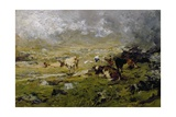 Mountain Landscape with Cows Grazing Giclee Print by Lorenzo Delleani