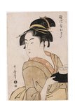 A Bust Portrait of the Waitress Okita of the Naniwaya Teahouse Giclee Print by Kitagawa Utamaro