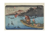 No.55 Cormorant Fishing Boat at Nagae River Near Koto Station, 1830-1844 Giclee Print by Keisai Eisen