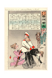 General Kuropatkin and His Staff Joyfully Leaving St. Petersburg for the Front Giclee Print by Kobayashi Kiyochika