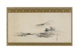 Landscape, Edo Period, C.1801-02 (Ink and Colour on Paper Mounted as Hanging Scroll) Reproduction procédé giclée par Katsushika Hokusai