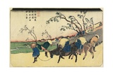 No. 20: View of Hiratsukahara in Rain Near Kustukake Station, 1830-1844 Giclee Print by Keisai Eisen