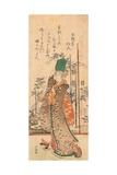 A Surimono of a Girl Holding a Book Giclee Print by Katsushika Hokusai