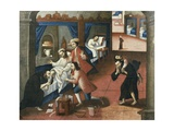 Religious Men Treating Patient at St Andrew Hospital in Cuzco Giclee Print by Marcos Zapata