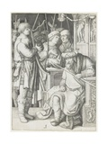 David Playing the Harp before Saul, C. 1508 Giclee Print by Lucas van Leyden