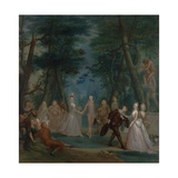 Scene in a Park, with Figures from the Commedia Dell'Arte, C.1735 Giclee Print by Marcellus the Younger Laroon