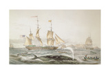 Whale Fishing, Published by E. Gambert and Co., 1853 Giclee Print by Louis Lebreton