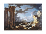The Port of Ostia During Storm, 1740-1750 Giclee Print by Leonardo Coccorante