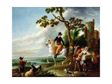 A Romantic Meeting Giclee Print by Louis Joseph Watteau