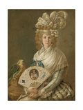 Portrait of a Lady with a Parrot, C.1785-90 Giclee Print by Luis Paret y Alcazar