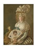 Portrait of a Lady with a Parrot, C.1785-90 Giclee Print by Luis Paret y Alcazar