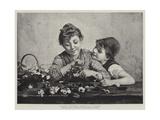 Italian Children Arranging Flowers Giclee Print by Luigi Bechi