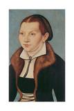 Portrait of Katherine Von Bora (1499-1552) 1529 Giclée-tryk af Lucas Cranach the Elder