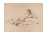 Study of a Reclining Female Nude, 1885 Giclee Print by Mihaly von Zichy