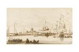 A View of Vlaardingen with Shipping in the Foreground (Pen and Ink with Wash on Paper) Giclee Print by Ludolf Backhuysen