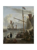 The Ij at Amsterdam, Seen from the Mosselsteiger (Mussel Pier) 1673 Giclee Print by Ludolf Backhuysen