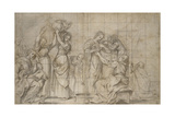 Recto: the Birth of the Baptist (Black Chalk with Pen and Brown Ink and Grey Wash Giclee Print by Lodovico Carracci