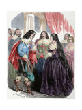 Interview Between the King Louis XIII of France (1601-1643) and His Mother Marie De'Medici. Coloure Giclee Print by Louis Dupre