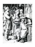 David Playing the Harp for Saul Giclee Print by Lucas van Leyden