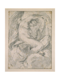A Nymph (Flora) Amid Clouds (Black Chalk with Stump on Off-White Paper) Giclee Print by Lodovico Carracci