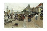 Marketplace by a Harbour Giclee Print by Luigi Loir