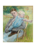 Mathilde Holding a Baby Who Reaches Out to the Right, C.1889 Giclee Print by Mary Cassatt