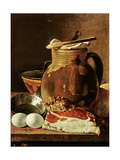 Still Life with Ham, Eggs, Bread, Frying Pan and Pitcher Giclee Print by Luis Egidio Melendez