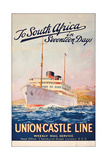 To South Africa in Seventeen Days; an Advertising Poster for Union Castle Line Giclee Print by Maurice Randall