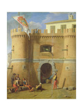Soldiers Outside a Fortified Castle Giclee Print by Michele Giambono