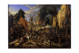 Spanish Conquest of a Flemish Village Giclee Print by Peeter Snayers