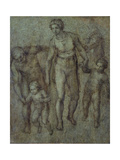 The Holy Family with St John the Baptist, C.1540 (Brush and Brown Wash on Panel) Giclee Print by  Michelangelo Buonarroti