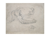 Study of a Man Rising from the Ground Giclee Print by  Michelangelo Buonarroti