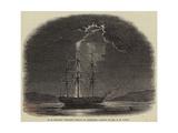 H M Frigate Fisgard Struck by Lightning Giclee Print by Nicholas Matthews Condy