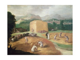 Landscape with Corn Threshers Giclee Print by Niccolo dell' Abate