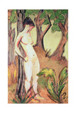 Nude Standing Against a Tree Giclee Print by Otto Muller