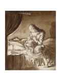 Night Scene: Woman Feeding Her Child (Pen and Wash in Brown Ink over Graphite) Giclee Print by Maxwell Gordon Lightfoot