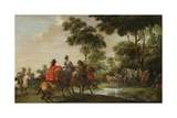 Highwaymen Raiding a Tilt Car by a Forest Stream Giclee Print by Peeter Snayers