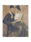 Sitting Pair, 1920 Giclee Print by Otto Muller