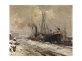 Antwerp Harbour in Winter Giclee Print by Maurice Blieck