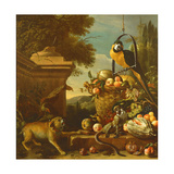 Macaw and a Monkey Lámina giclée por Melchior de Hondecoeter