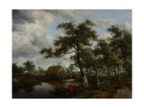 Wooded Landscape with Watermill, C.1665 Giclee Print by Meindert Hobbema