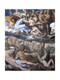 Fall of Giants or Jupiter Hurling Thunderbolts at Rebellious Giants Giclee Print by Perino Del Vaga