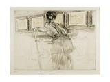 Woman Looking at Watteau Drawings in the Louvre, C. 1895 Giclee Print by Paul Cesar Helleu
