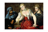 Venetian Women at their Toilet, C.1545 Giclée-tryk af Paris Bordone