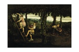 Scene of Grape Harvest Giclée-tryk af Paris Bordone