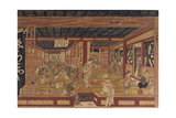A Great Perspective Print of the Echigoya Draper's Shop at Surugacho Giclee Print by Okumura Masanobu