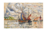 Fishing Boats in La Rochelle, C.1919-21 (Graphite, W/C and Opaque White) Giclee Print by Paul Signac