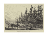 Towards the Close of Day, the Canada Timber Docks, Liverpool Giclee Print by R. Dudley